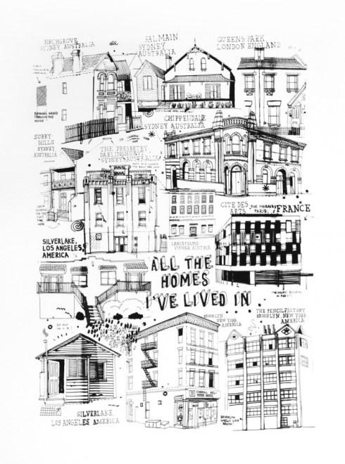 Ilustración de James Gulliver Hancock. Casas en blanco y negro.