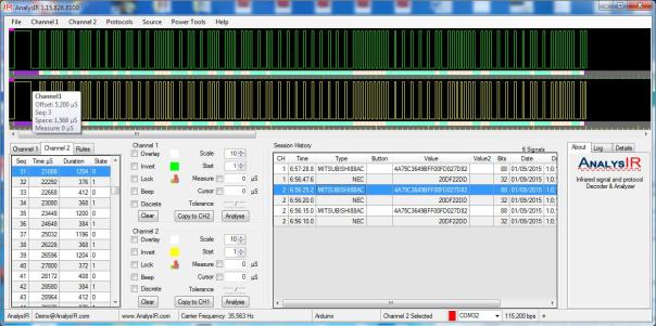 Mitsubishi88AC signal captured in AnalysIR using soft PWM, RAW signal above HEX signal below
