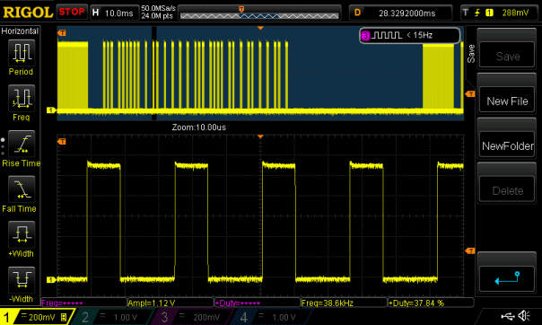 NEC 32 bit IR signal generated using soft PWM on the A.IR shield
