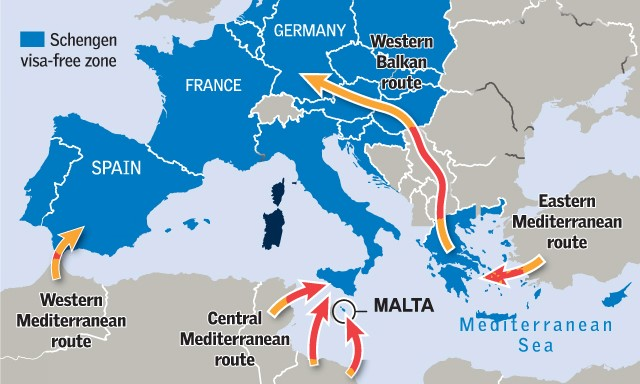 ΧΑΡΤΗΣ - χάρτης μεταναστευτικών δρόμων