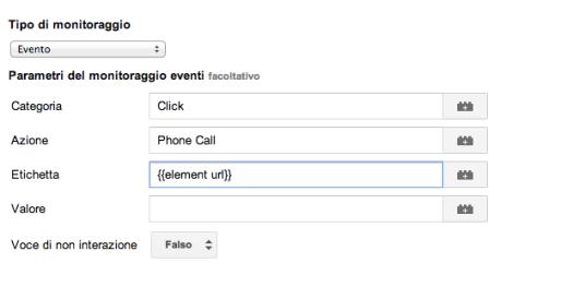 Evento UA phone call