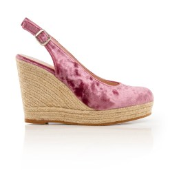 Zapatos Mujer Cuña Strauss Terciopelo Rosa