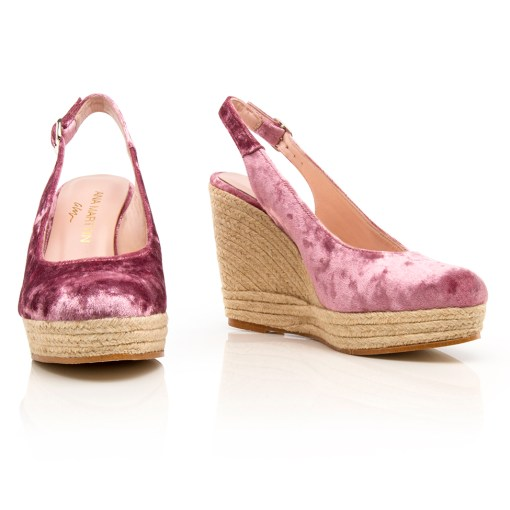 Women Shoes Wedges Strauss Velvet Pink
