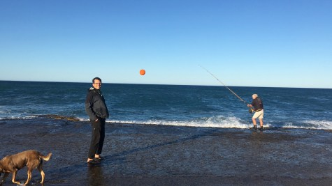 Our first fishing morning - the owner was showing us how to catch mackerel with a helium balloon. It can only be done on the days when the wind direction is right, and can take the balloon and the hook far into the sea.
