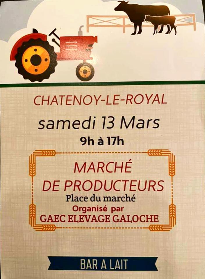 Affiche du marché de producteurs du 13 mars 2021 à Chatenoy-le-Royal