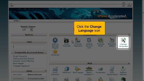cPanel language Primary Language in cPanel