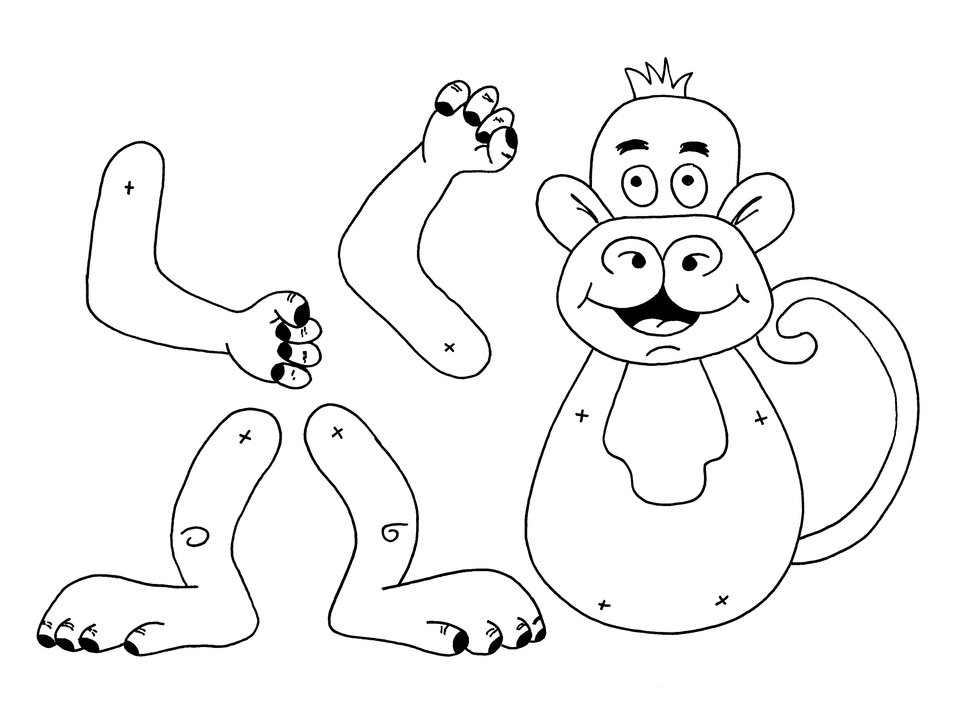 Monkey Finger Puppet Coloring Activity Coloring Pages