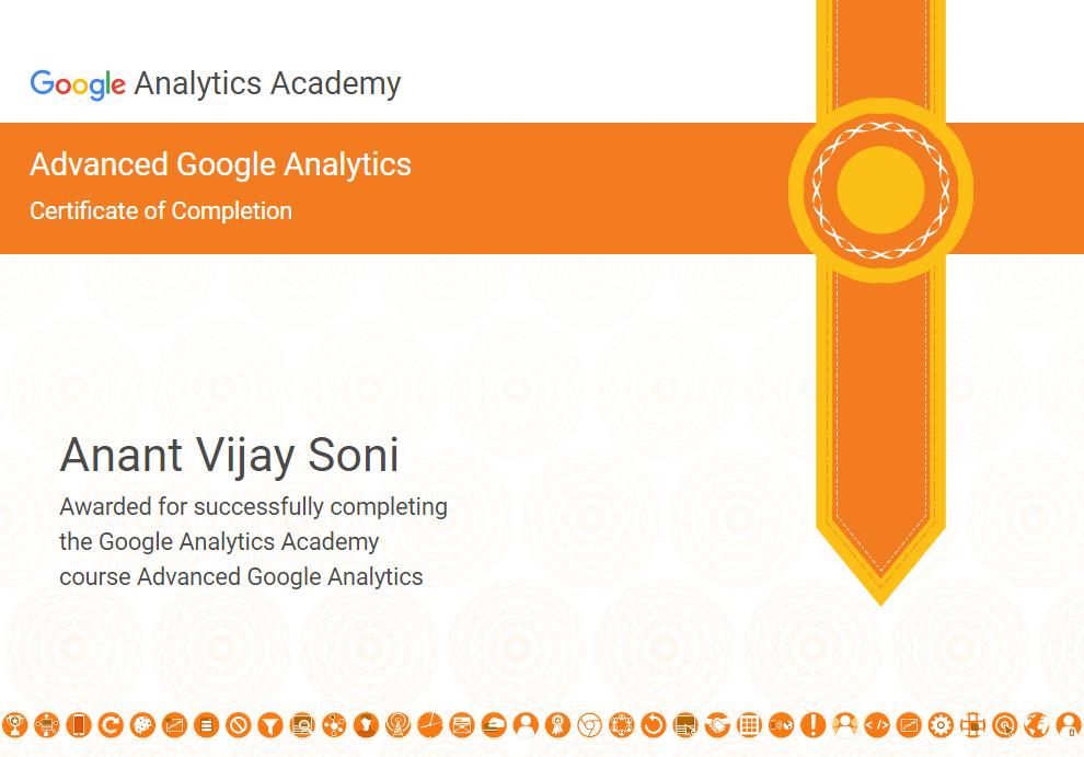 Anant Vijay Soni - Advanced Google Analytics