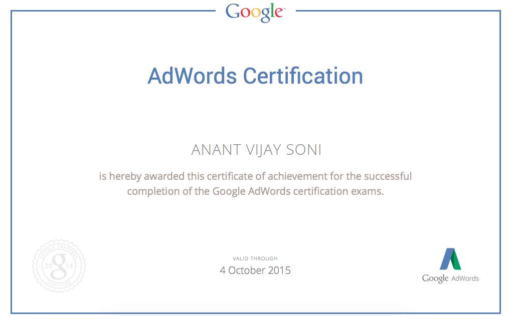 Anant Vijay Soni - Google Adword Certification