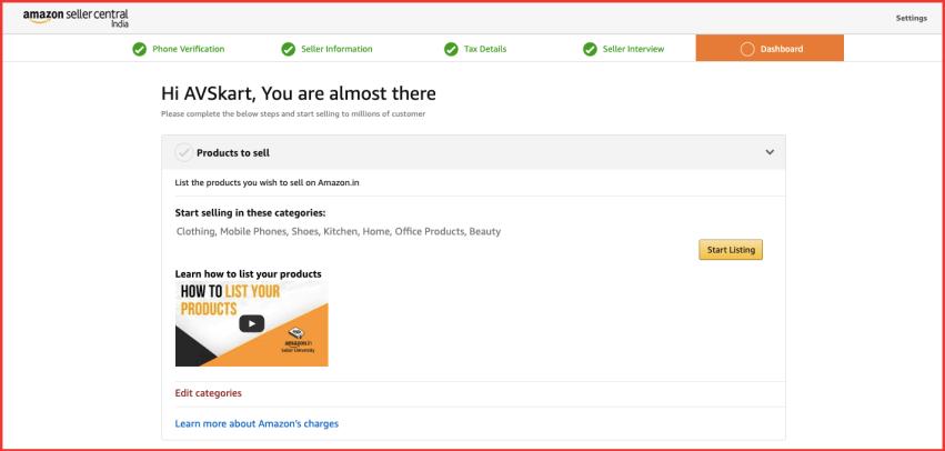 Dashboard - Sell on Amazon