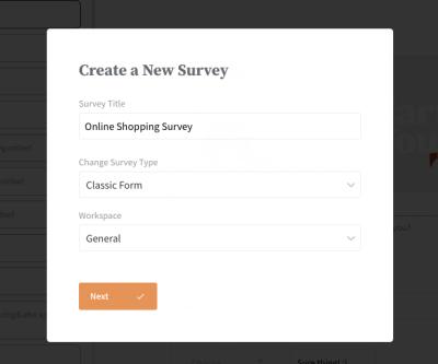 Enter Survey Name and type details - SurveySparrow