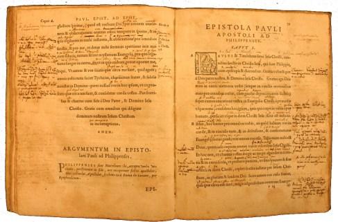 Cinquecentina with glosses and interlinear. APUG 429. Biblia ad vetustissima exemplaria nunc recens castigata. Hebræa, Chaldæa, Græca et Latina nomina virorum, mulierum, populorum, idolorum, urbium, fluviorum, montium, caeterorumque locorum, quae in Bibliis leguntur, restituta cum Latina interpretatione, ac locorum e cosmographis descriptione, Louanii, ex officina Bartholomaei Grauii, 1547