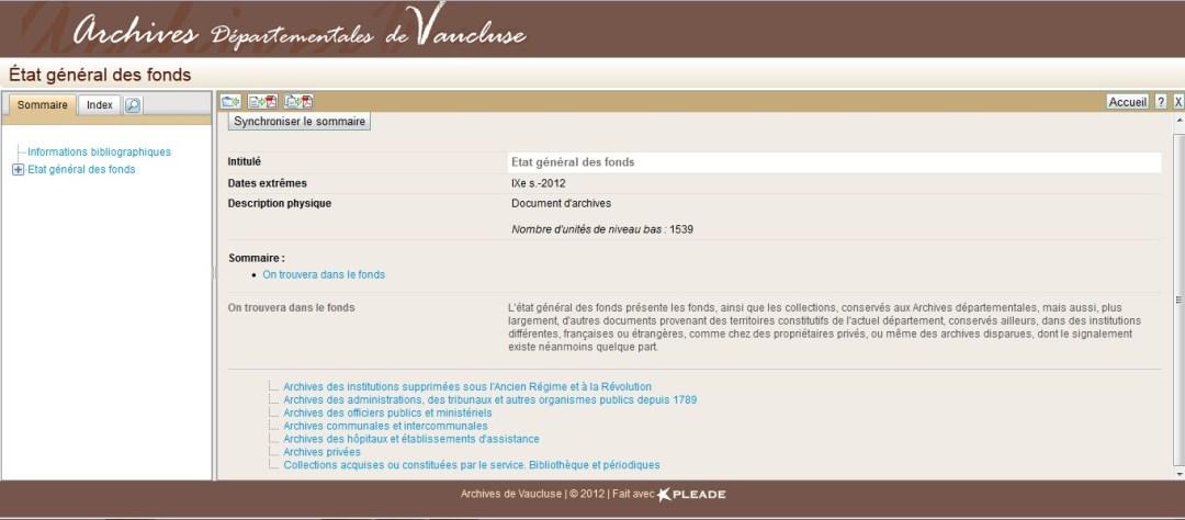 Capture d'écran État général des fonds - Archives de Vaucluse