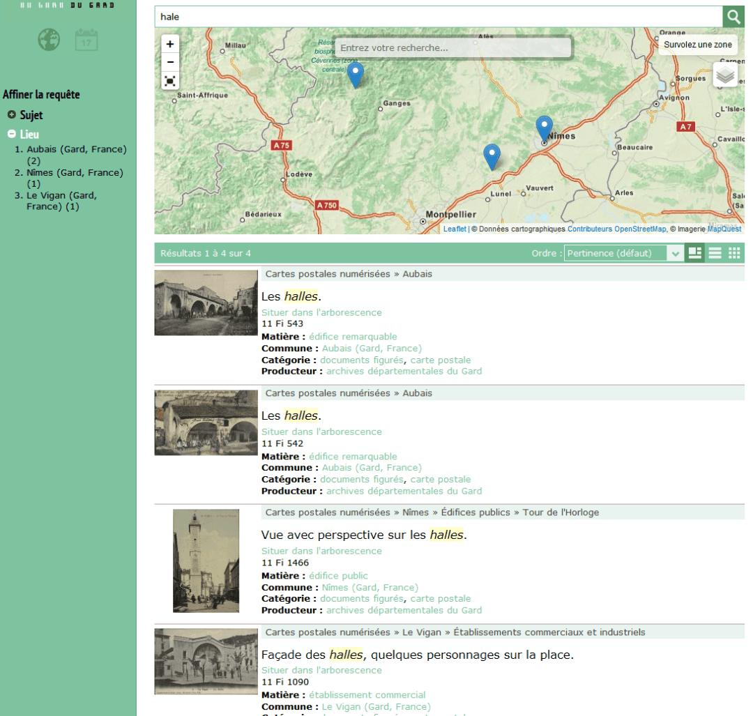 la carte localisation et filtrage