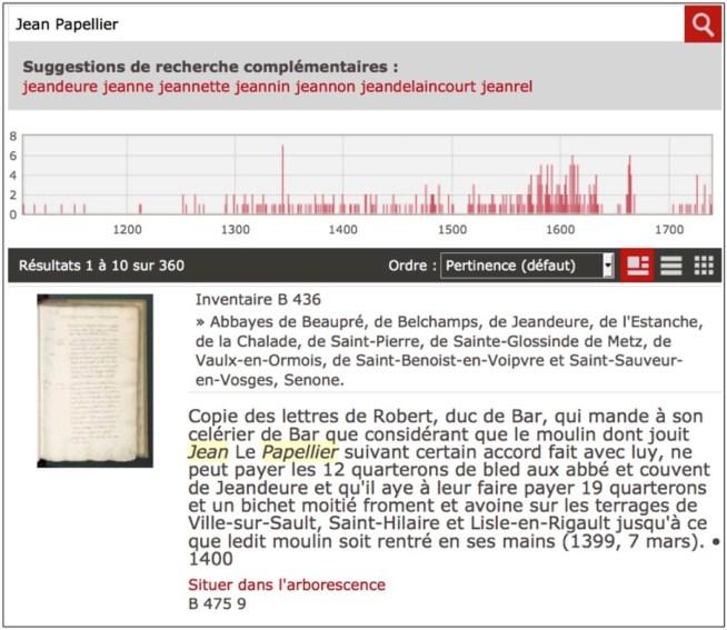Capture d'écran du système Bach permettant d'accéder à l'inventaire en ligne