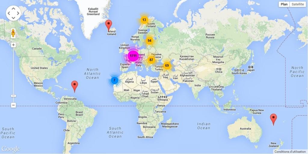 Cartographie, à l'échelle du monde, des institutions participant au portail européen des archives sur la page annuaire du site
