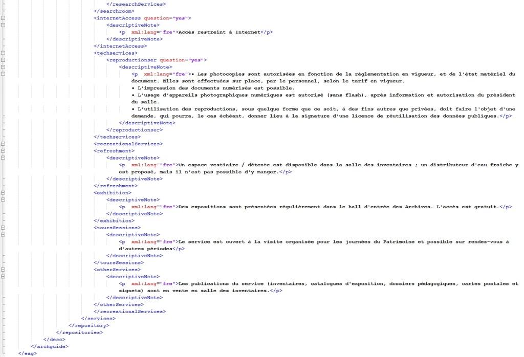 Dernières lignes d'une notice au format EAG 2012, générée par Arkhéïa Aide au classement