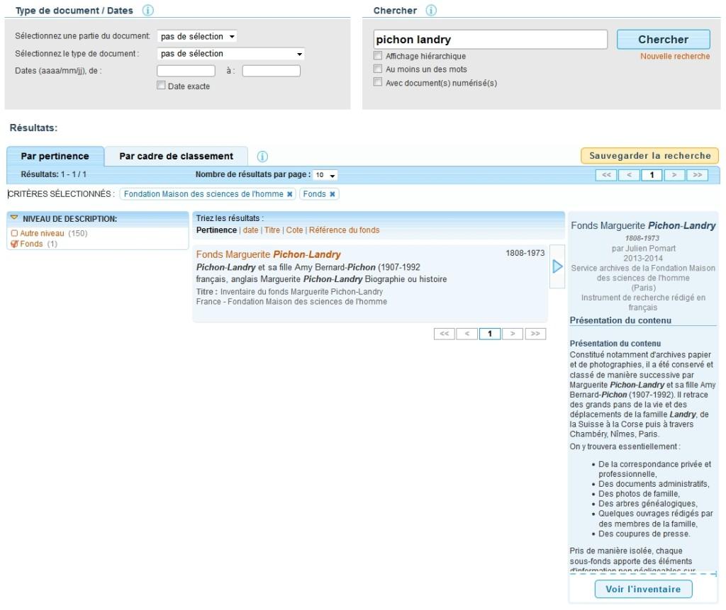 Résultat d'une requête dans le portail européen des archives