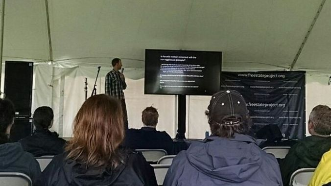 Tim speaking at Porcfest