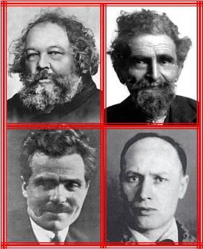 En el sentido horario, desde cima, a la izquierda: Bakunin, Malatesta, Arshinov, Makhno