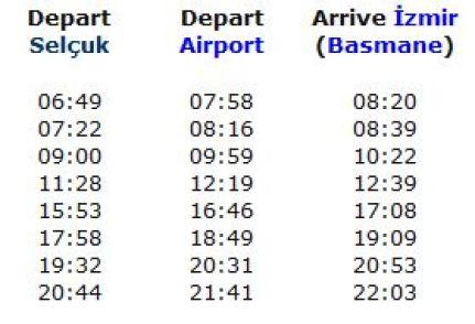 Izmir train schedules