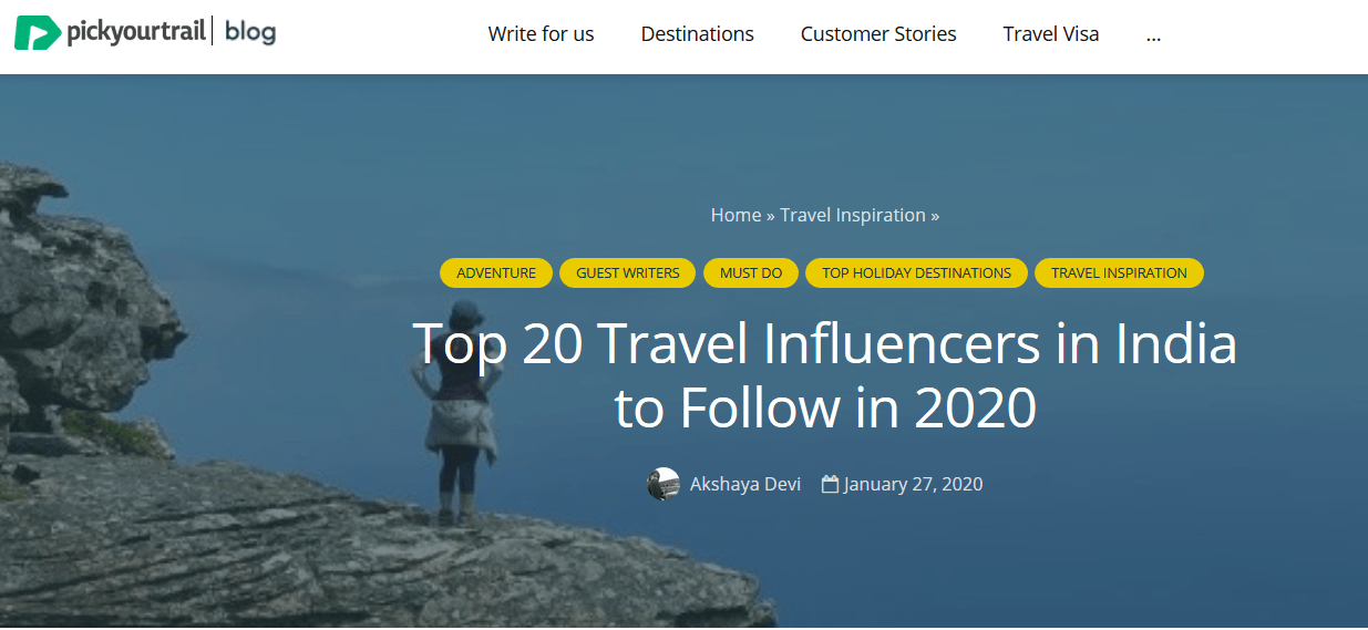 Top Indian Travel blogger