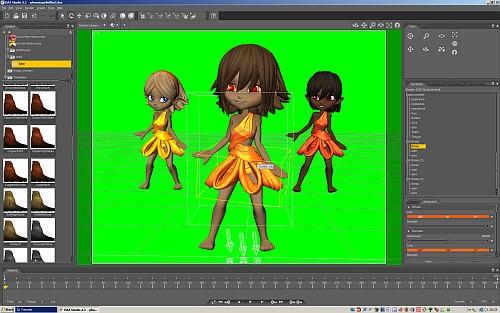 Die drei Phoenix-Sisters im Animator DAZ Studio 2.3 - die drei sind schon in Pose gestellt, nur das Material der Kleidchen wird noch angepasst. Der grüne Hintergrund wird im Videoschnittprogramm später wichtig sein, um die Damen freizustellen.