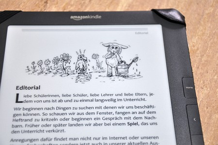 Phoenix 54 im Kindle DX: PDF-Dokumente lassen sich im größerformatigen Kindle prima betrachten, optimal dafür geeignet sind DinA5-Druckerzeugnisse. Schriftarten, Spaltensatz und auch Grafiken kommen gut heraus.