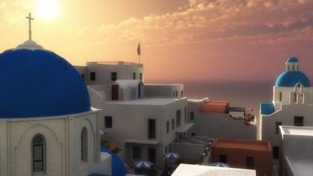 Wenn es mit wirklicher Morgenröte und Kuschelneujahr nichts wird, bleibt dem Technomagen immerhin noch die Flucht in die zarte, virtuelle Traumwelt - Voilá, ein Stückchen Griechenlandmorgen, gerendert mit Vue 8!