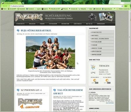 Die erneuerte Webseite der Schülerzeitung Phoenix Anfang Juli 2011.