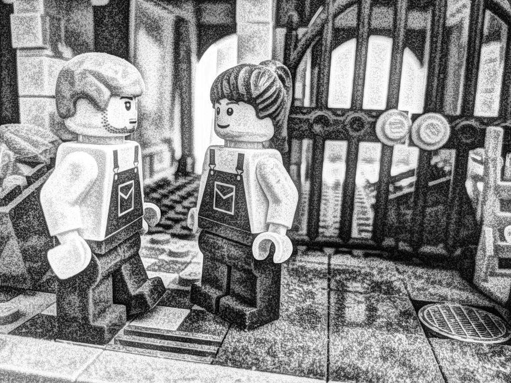 Sogar Makroaufnahmen lassen sich mit der Kamera des ASUS TF700T erstellen, wie hier die beiden Lego-Gemüsehändler. Der Effekt wurde wieder mit Painteresque für Android hinzugefügt.