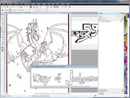 Die eingescannten zeichnerischen Rohdaten für das Cover der Phoenix 59 in Corel Photopaint.