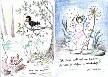 """Nur wenige Skizzen sind coloriert - z. B. diese komplementäre Doppelseite zum Thema """"Aufklärung"""", die allerdings zuhause im Garten entstand."""
