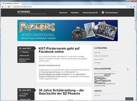 Die Probeversion der neuen Phoenix-Webseite auf wordpress.com. Die Webseite ist schlichter als die alte, technisch allerdings moderner und über die Blogging-Plattform besser vernetzbar.