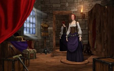 """Der Sims-Erstellmodus von """"Die Sims Mittelalter"""" bietet weniger Objekte als das große Spiel, erzeugt durch sinnige Gesichtsschablonen, Frisuren und Kostüme aber für ein stimmiges Renaissance-Ambiente"""