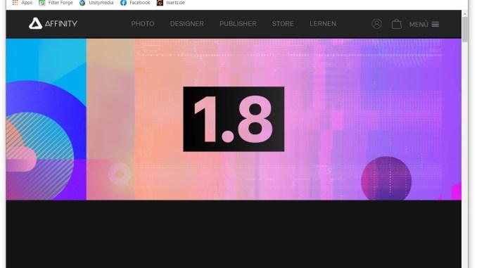 Webseite der Affinity-Suite (Screenshot)