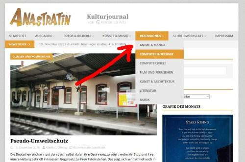 Das Seitenmenü wurde um viele Kategorien erweitert (Screenshot).