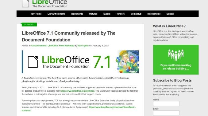 LibreOffice Version 7.1 wurde veröffentlicht