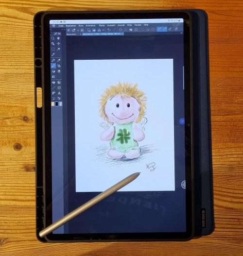 Samsung Galaxy Tab 7+ als mobiles Zeichentablet (Foto: Martin Dühning)
