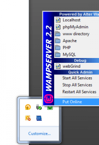 Screenshot showing turn on your WAMP server