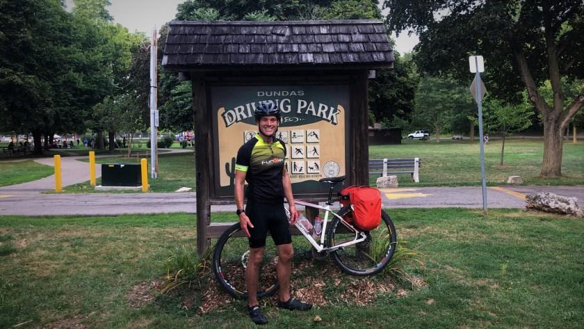 Cory Kawa, successfully finishing the Cannonball 300 Bikepacking Route
