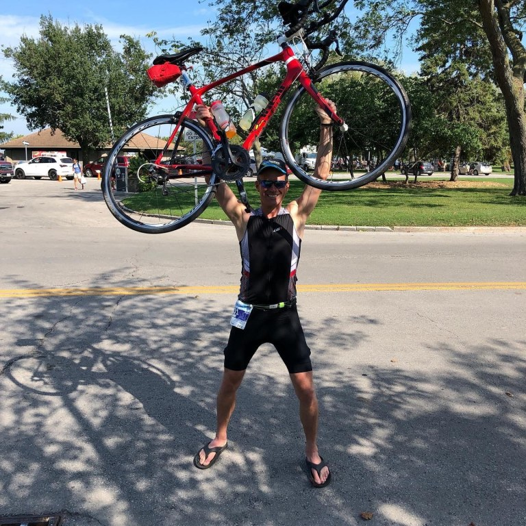 Victory Pose After PBing at the 2019 Niagara Falls Barrleman Half Ironman