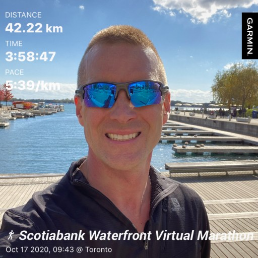 Selfie after finishing the 2020 Scotiabank Toronto Waterfront Marathon