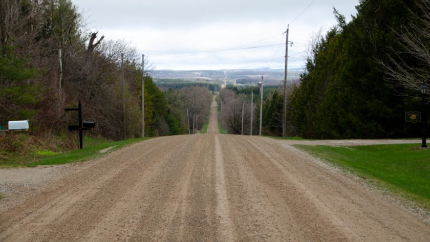 A Picture of the Beatuful Gravel Road Otherwise Known as 1st Line EHS.