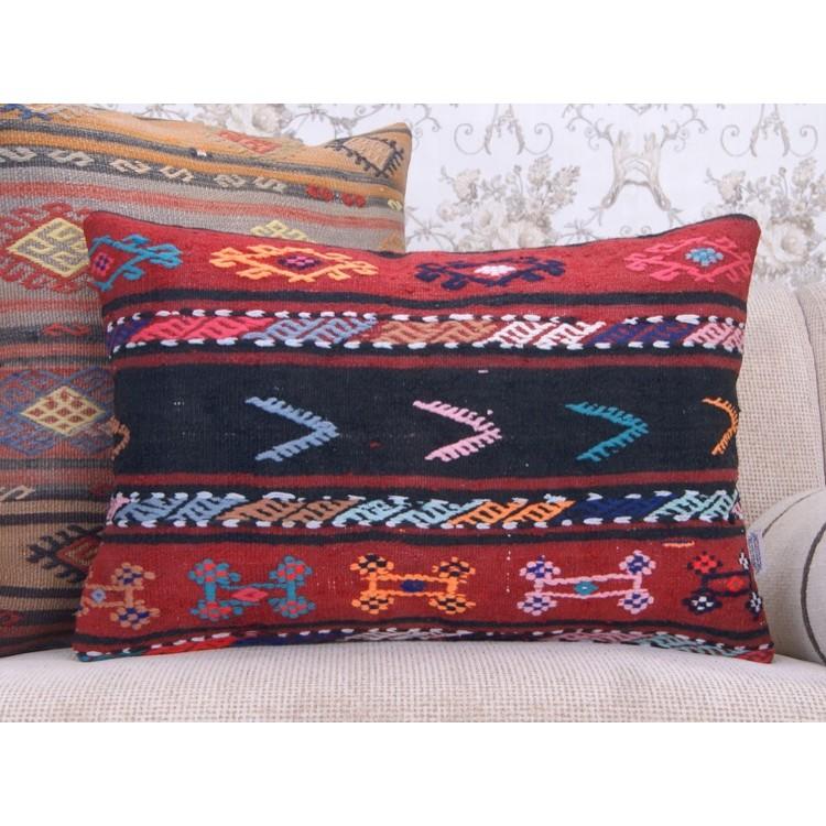 boho style kilim throw pillow colorful embroidered ethnic rug cushion