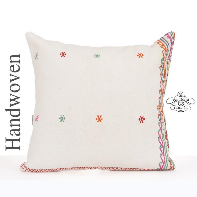 white shabby chic pillow cover 24x24 large turkish kilim pillowcase