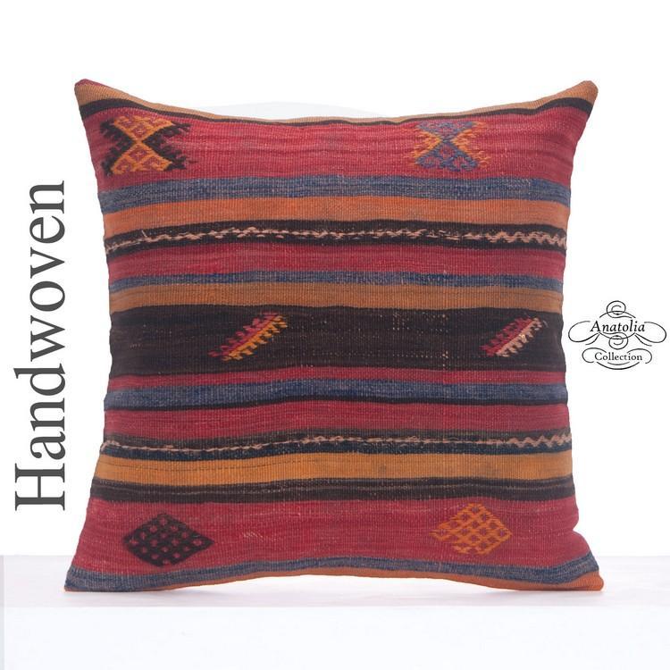 antique decorative kilim pillowcase 24x24 large colorful throw pillow