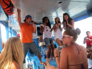 Karaoke during boat cruise