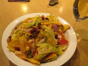 Delicious Mexican chicken salad at hostel bar