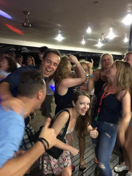 Partying in a pub at Rainbow Beach